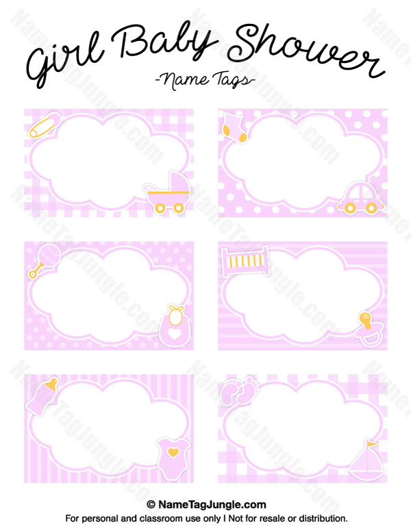Free Printable Girl Baby Shower Name Tags. The Template Can Also Be Used  For Creating