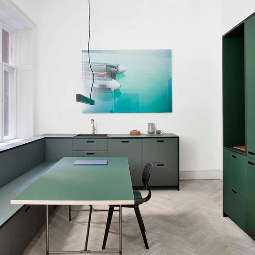 In our showroom we have this lovely kitchen in green and pewter ...