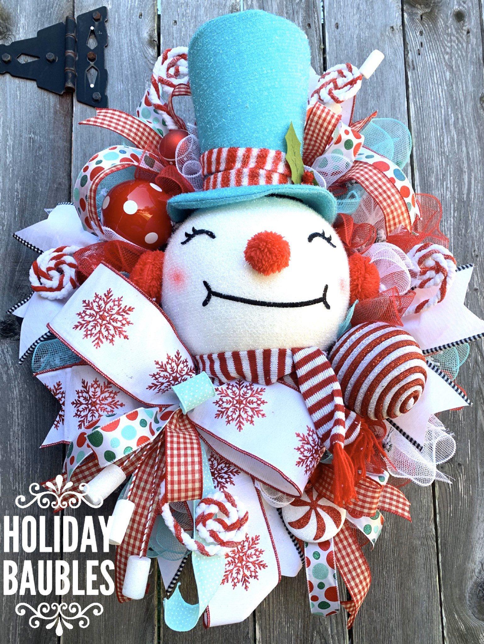 Snowman Wreath, Christmas Wreath, Whimsical Christmas Wreath, Snowman Wreaths, Whimsical Snowman Wreath #doubledoorwreaths