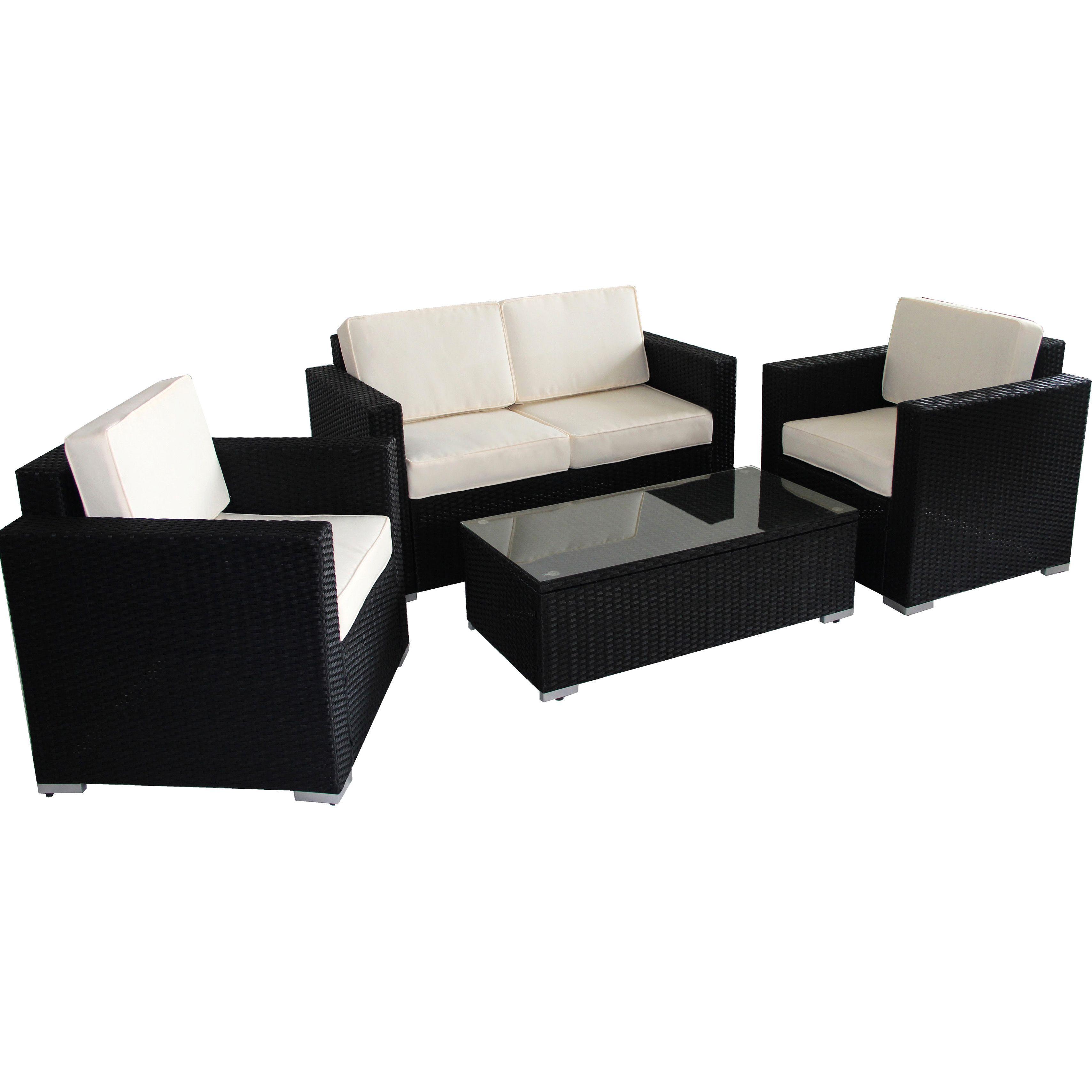 BroyerK 4 piece Outdoor Rattan Patio Furniture Set