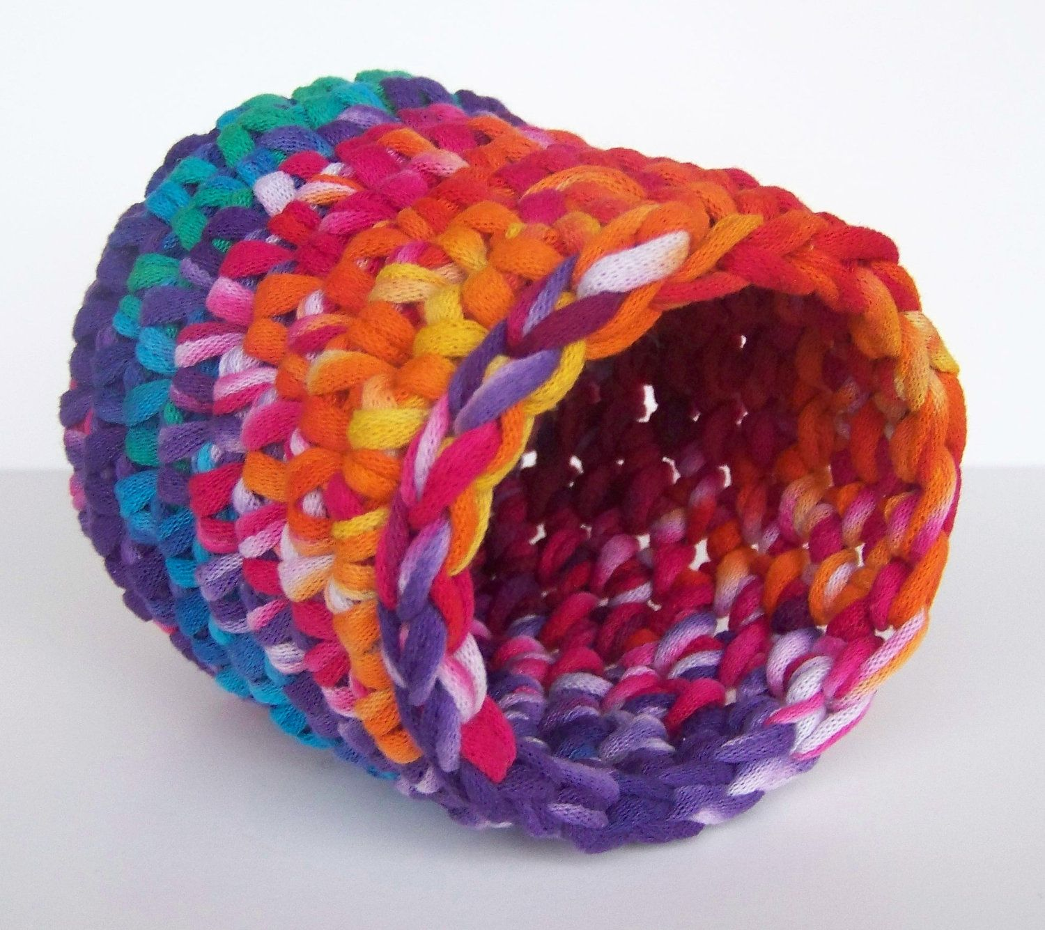 Crochet Bowlpencil Holder Made Using Recycled T Shirt Yarn, Tshirt Yarn,