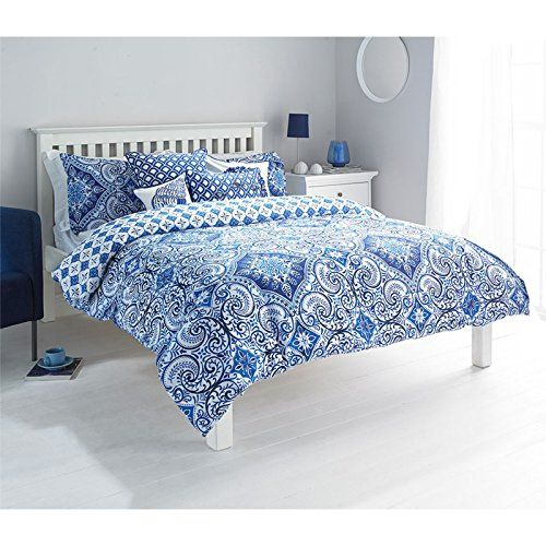 Moroccan Style Paisley Duvet Cover With Geometric Florals Reversible Bedding Blue White Single Just Contempo H Duvet Cover Sets Duvet Sets Bed Linen Sets