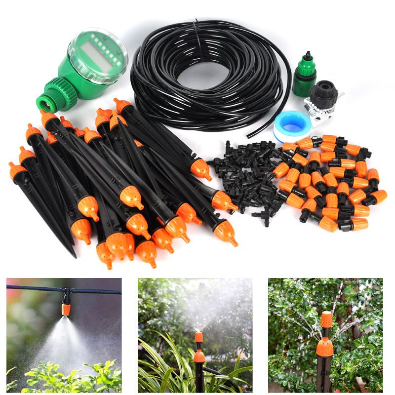 Automanual diy watering irrigation system sprinkler drip