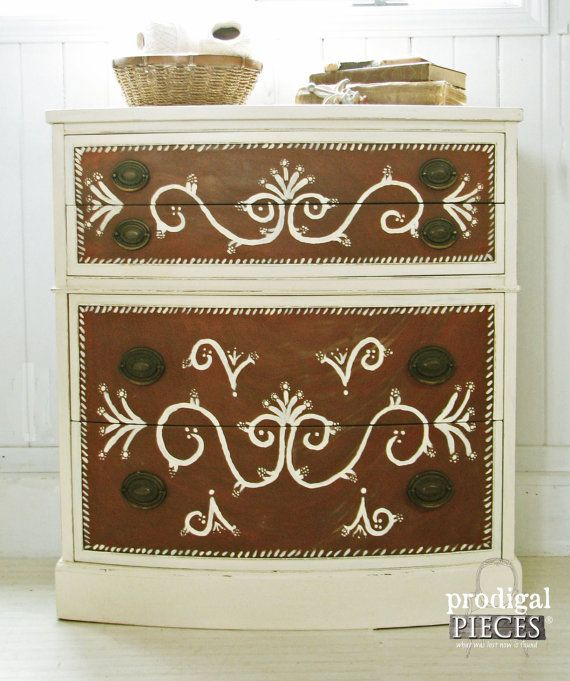 Vintage Thomasville Sideboard / Buffet with Brass Pulls and Hand Painted Design ~ Perfect as Console or Dresser #prodigalpieces www.prodigalpieces.com