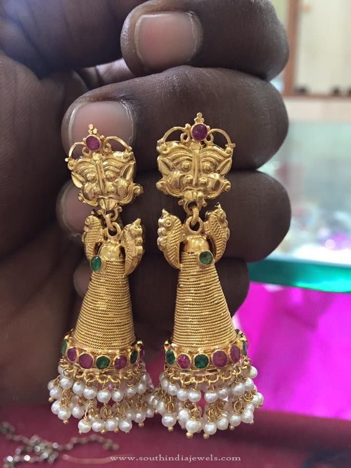 Long Gold Cone Shaped Jhumka Design | Shapes, Big and Gold
