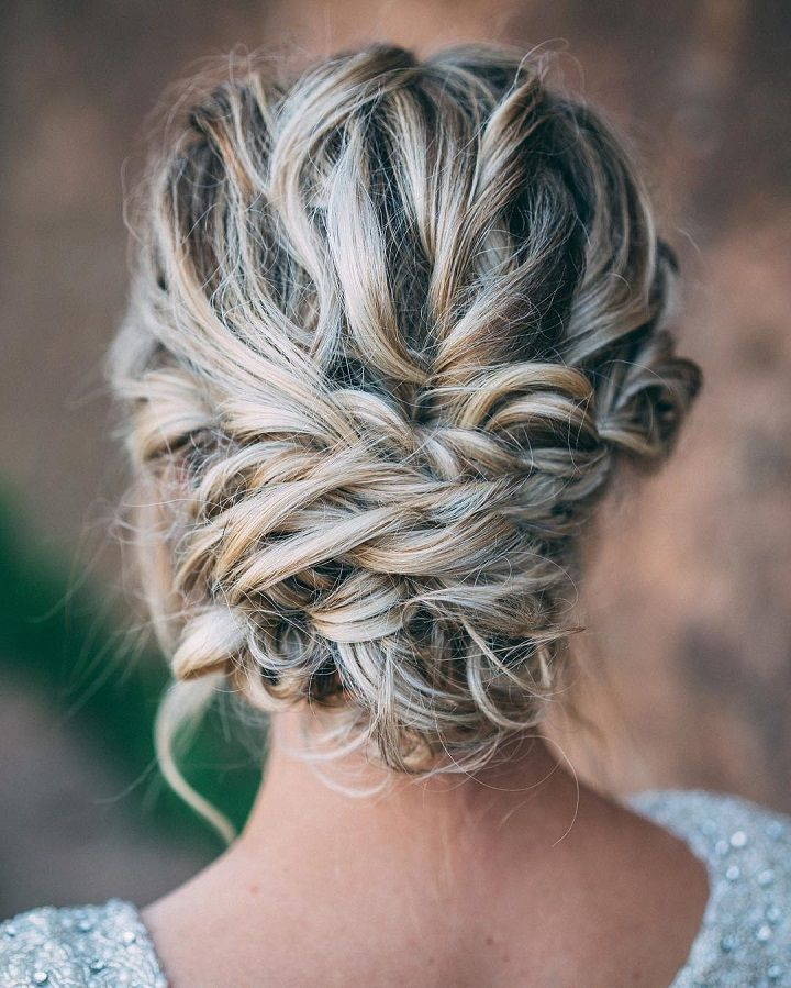 Beautiful Messy Braid Updo Wedding Hairstyle For Romantic