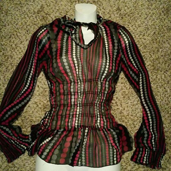 Sheer polka dot shirt Sheer Rampage Polka Dot Shirt Rampage Tops