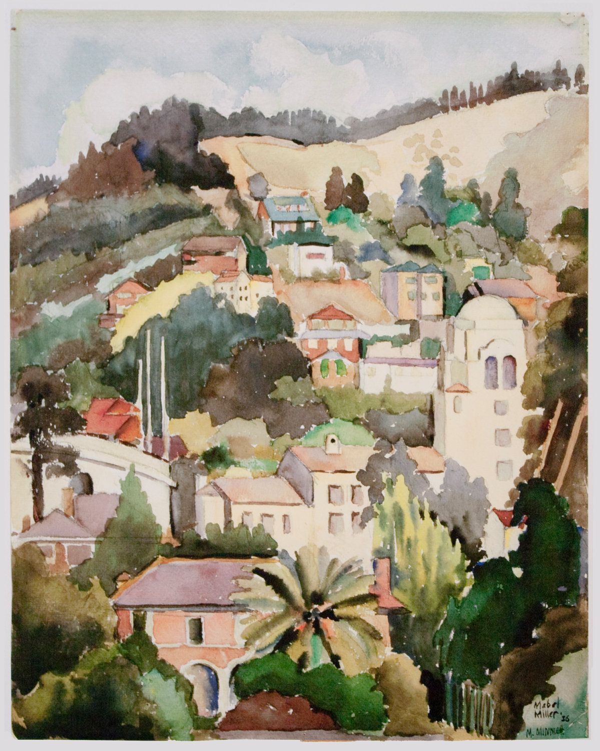 UC BERKELEY HILLS in 1936 Watercolor Painting | Acuarela y Arquitectura