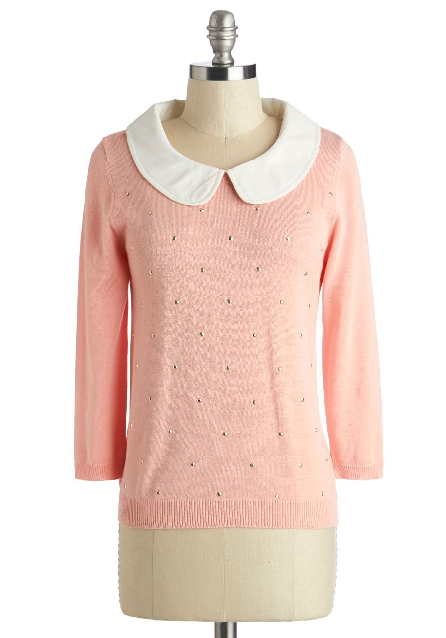 Femme Finesse Top. You know just how to add a feminine touch to every project you take on - including your style, of course, with this rose-pink sweater! #pink #modcloth