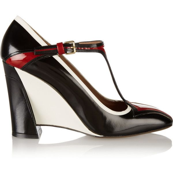 Marni Leather Mary Jane wedge pumps ($392) ❤ liked on Polyvore featuring shoes, pumps, black, black pumps, ankle strap wedge pumps, black wedge pumps, black shoes and black mary janes