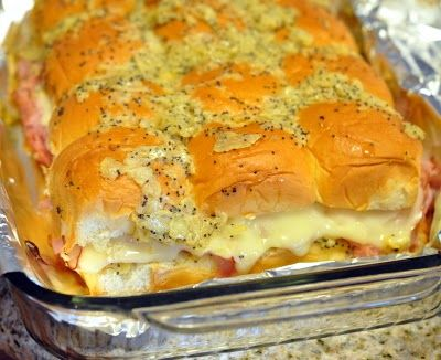 """Hawaiian Sweet Roll Ham Sandwiches """"These things are like crack, be careful or you could end up eating a pan of sandwiches"""" - says one piner"""