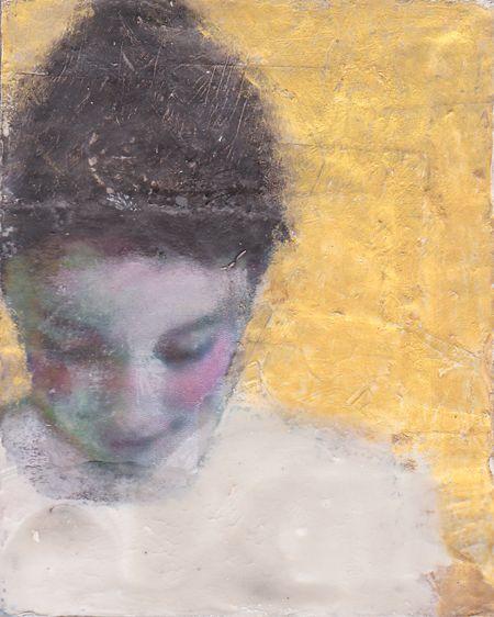 Veronique Paquereau, Golden girl, Gemengde techniek op doek, 10x8 cm, €.80,-