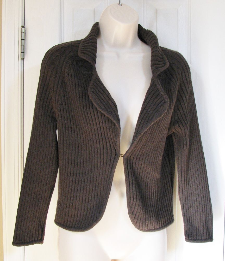 Ann Taylor Ribbed Brown 3/4 Sleeve Cardigan Sweater Shrug M 100 ...