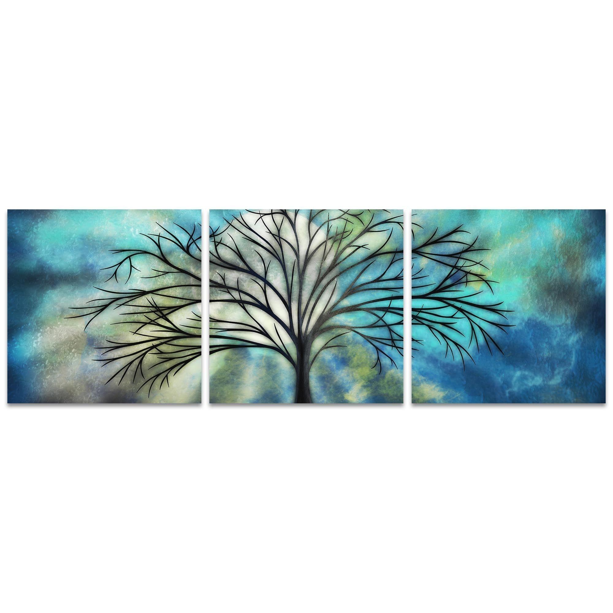 Stephanie fields umoonlight triptych largeu whimsical tree art on