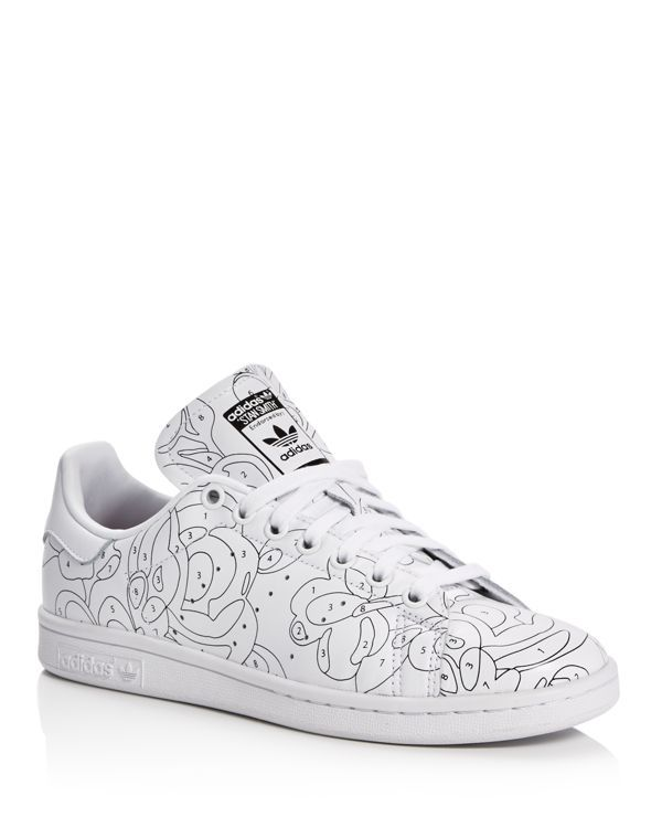adidas white & black stan smith rita ora paint trainers