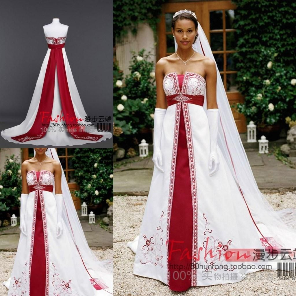 12644443f1 Discount Strapless Sleeveless 2016 Red And White Wedding Dresses ...