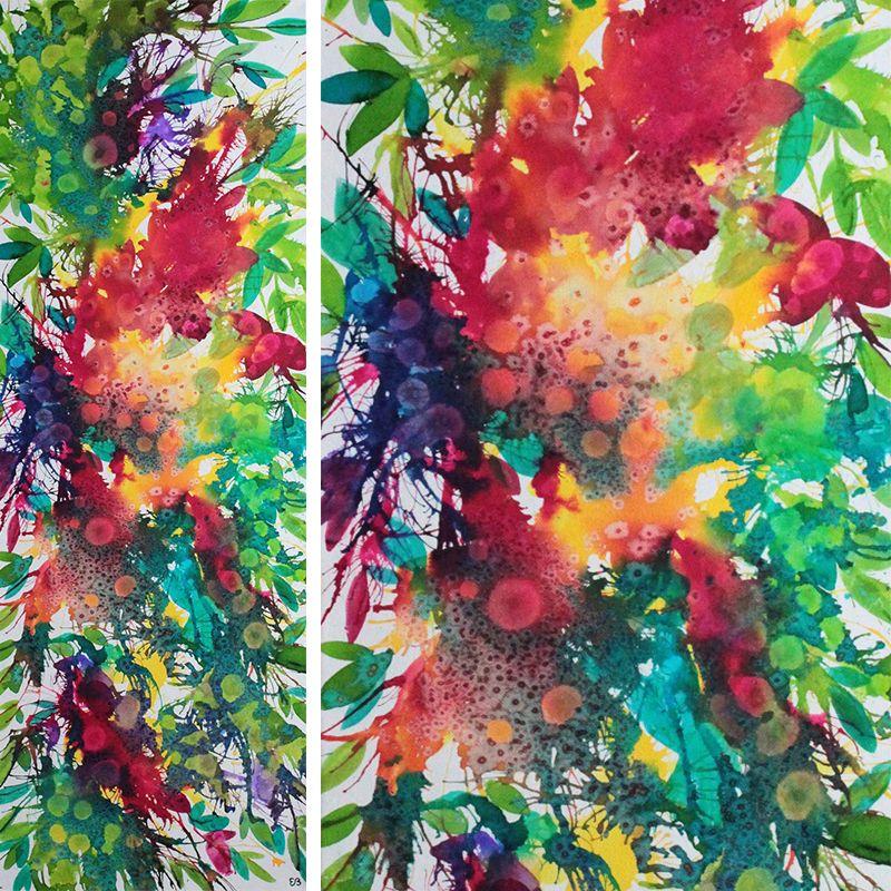 Encre Et Aquarelle Sur Toile 90 X 30 Cm Fleur Paradis Eden