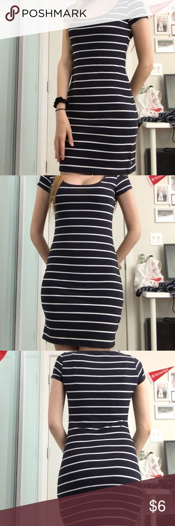 H M Navy And White Stripe Bodycon Dress Striped Bodycon Dress Bodycon Dress Dresses [ 1740 x 580 Pixel ]