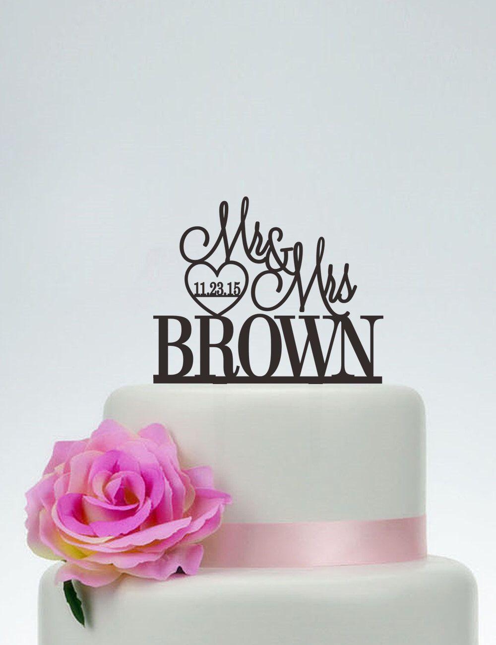 Mr and mrs cake topper with last namewedding cake toppercustom
