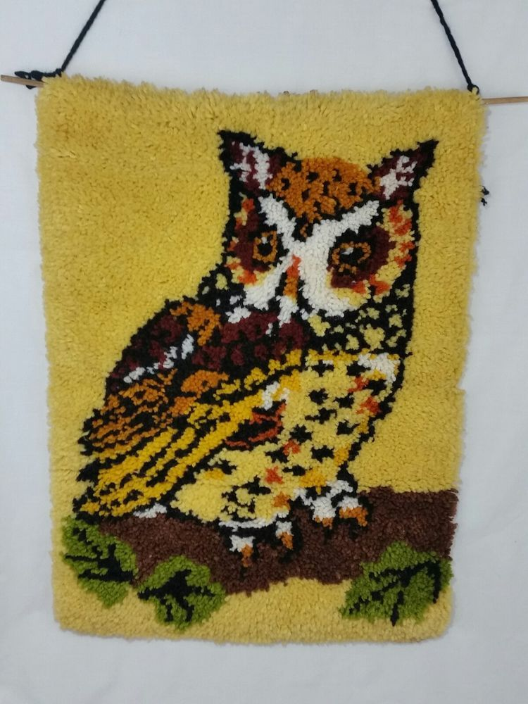 Latch Hook Owl Wall Hanging Complete Large 20x27 Retro Rug