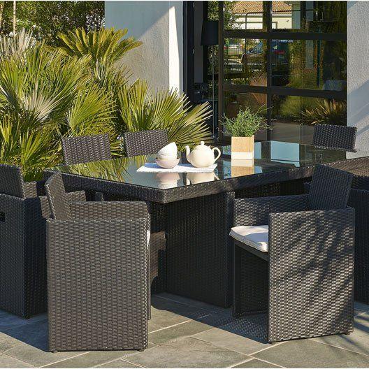 Salon de jardin Encastrable DCB GARDEN, 1 table + 8 fauteuils ...