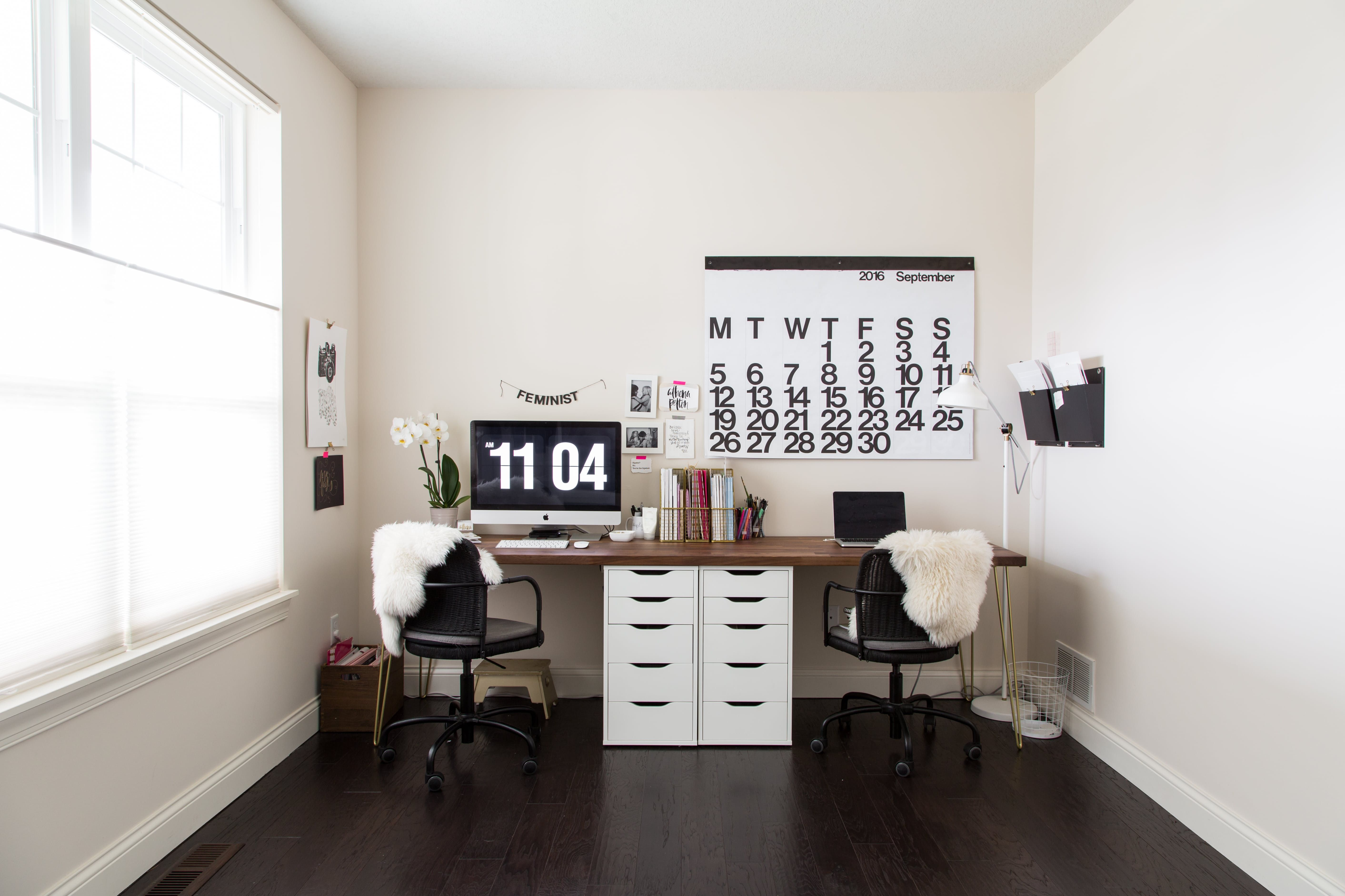 A Photographer S Chic High Contrast Home Double Desk Desks And