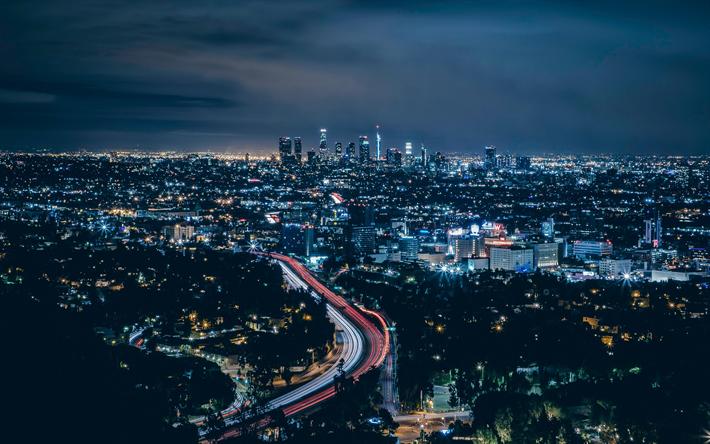 Download imagens Los Angeles, 4k, EUA, noturnas, estradas