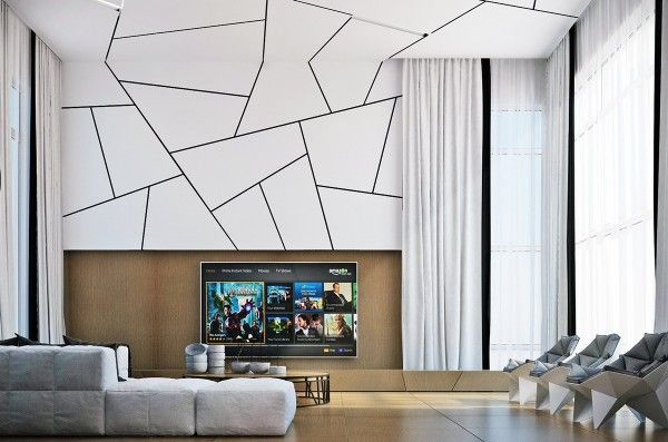 Geometry Takes Center Stage In This Sharp Modern Living Space. Black Edged  Curtains Tucked