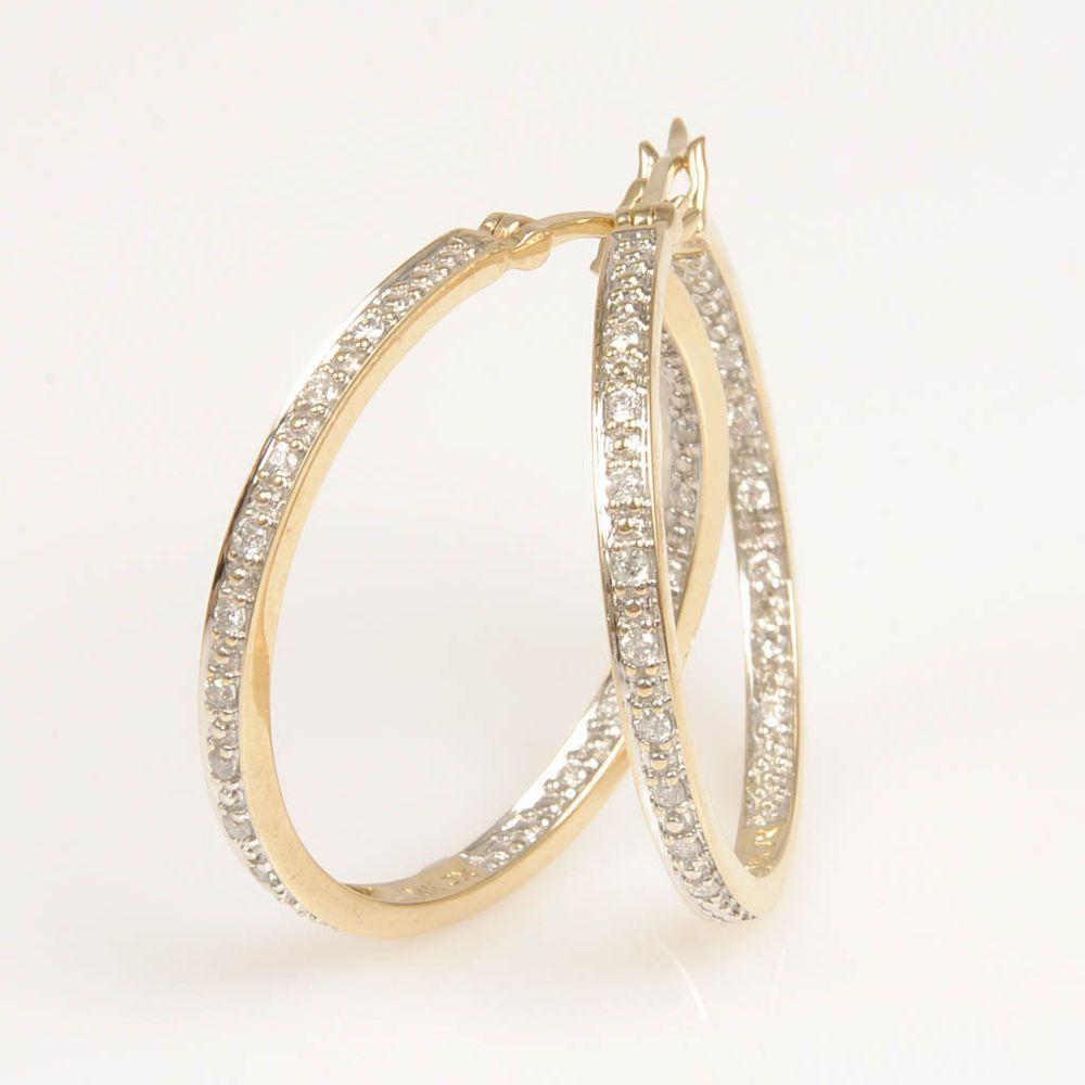 14k Yellow Gold Diamond Hoop Earrings Finejewelry Diamonds Goldhoopearrings