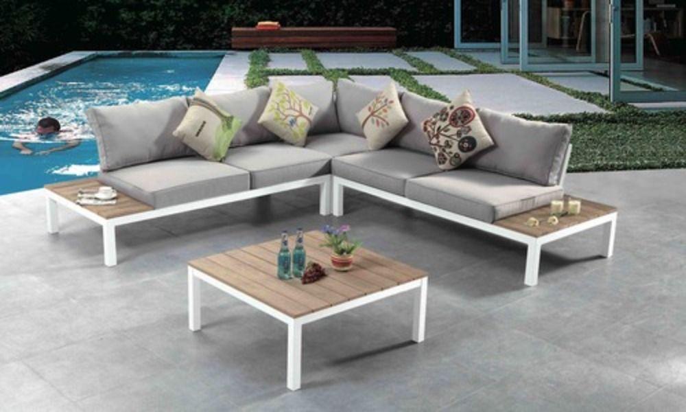 Container Door Ltd Teak Outdoor Corner Lounge Set 27 In 2020 Teak Outdoor Sectional Patio Furniture Patio Sofa Set