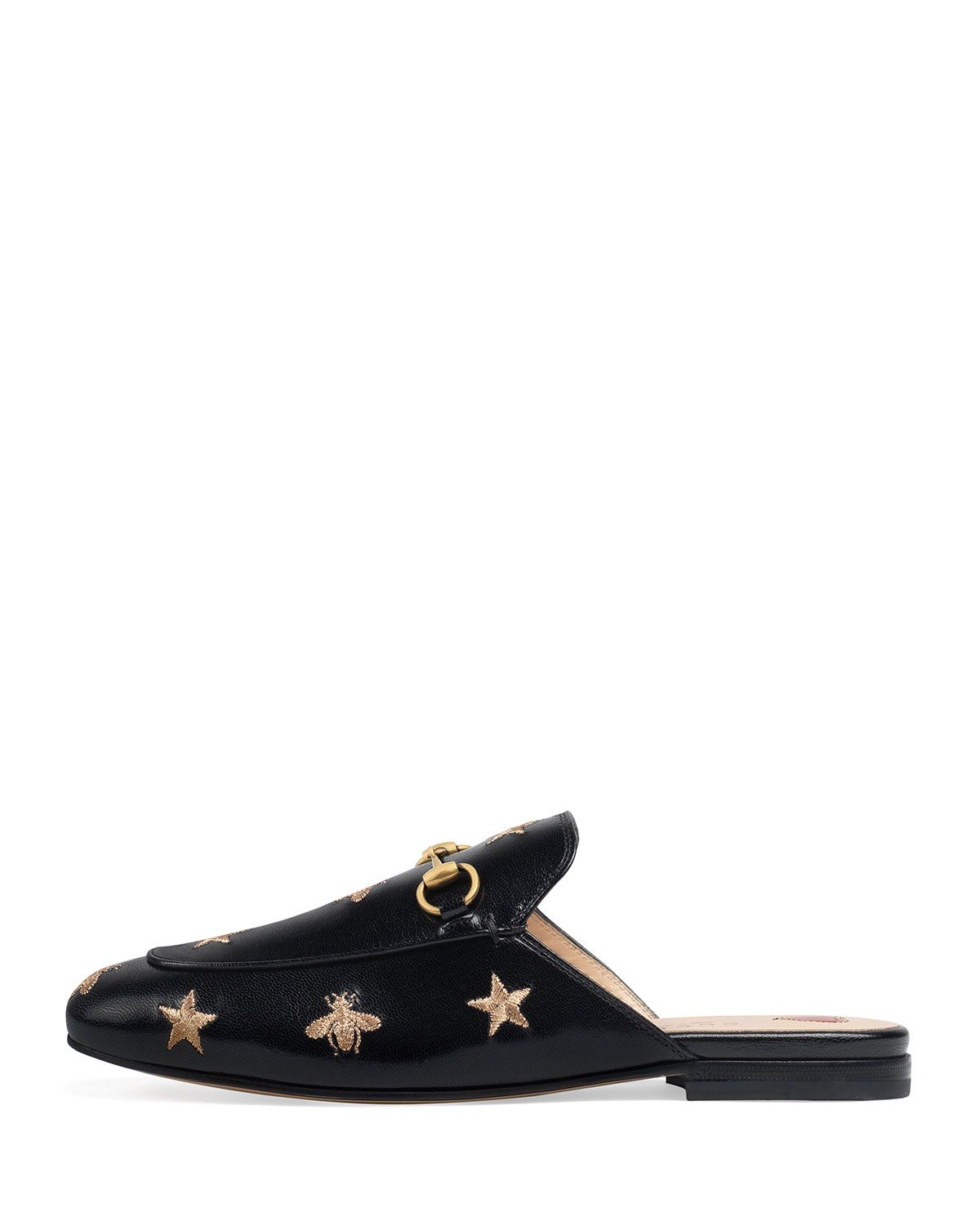 ad8b84d8643 Gucci Princetown Bee and Star Flat Mule