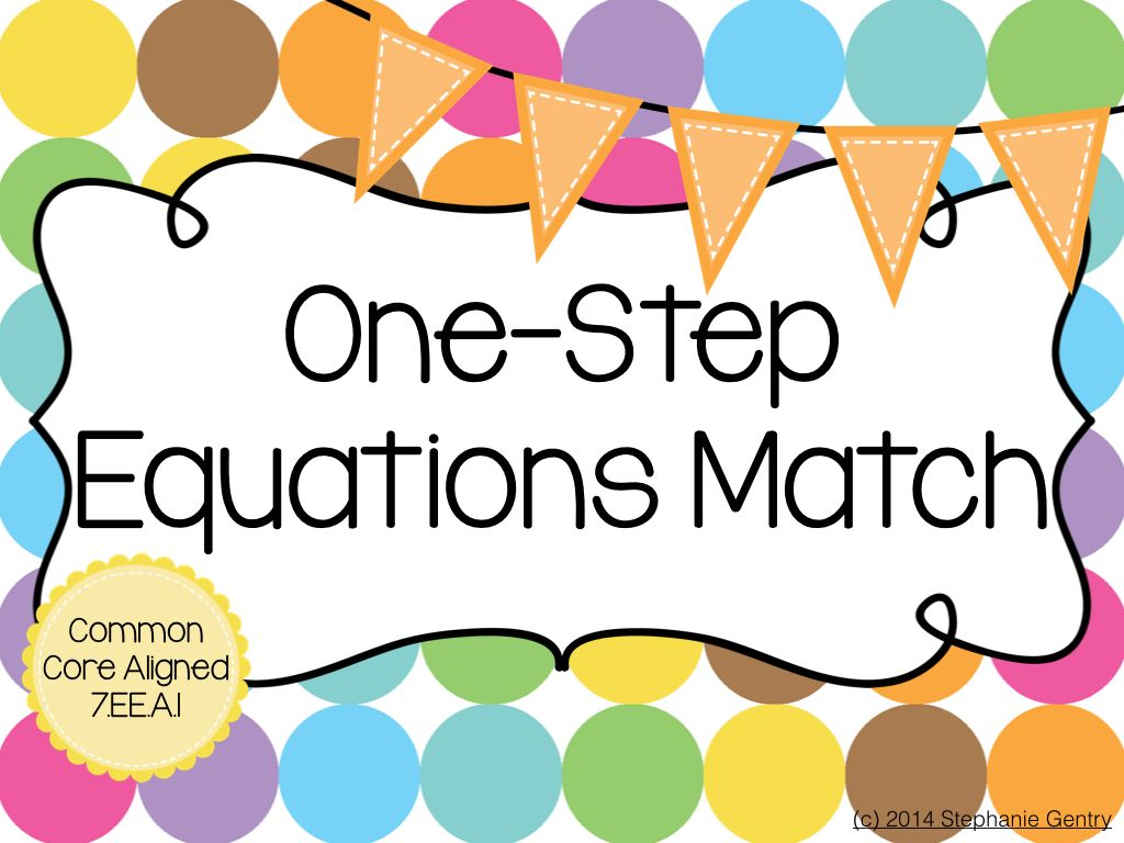 One Step Equations Matching Game