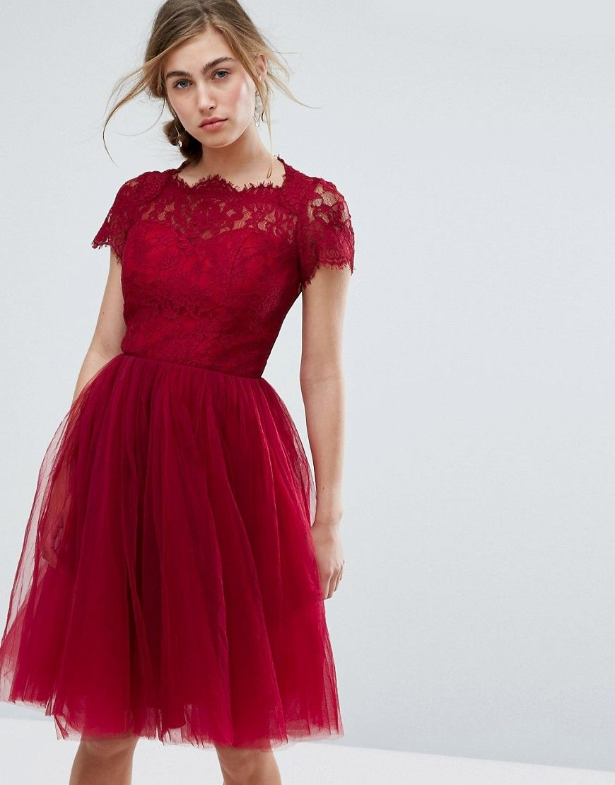 be731d720b89 Chi Chi London Midi Tulle Dress with Lace Up Back - Red