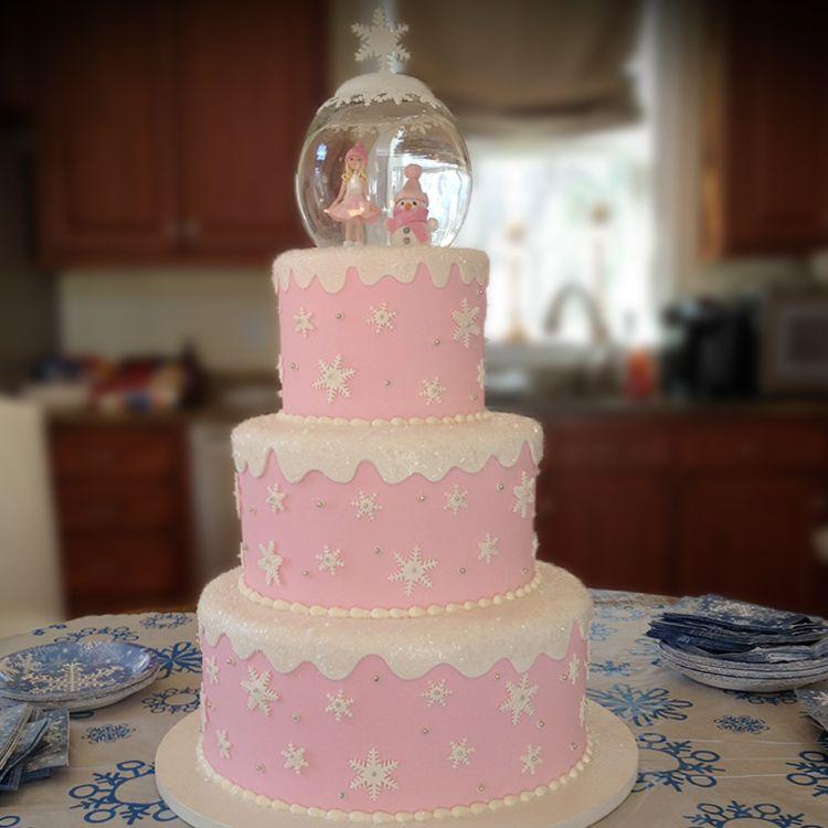 pink winter birthday cakes