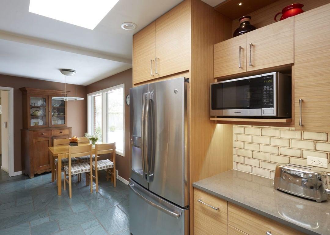 Midcentury Modern Kitchen We Used Horizontal Lines To Make It Seem Bigger In T Bigger Mid Century Modern Kitchen Galley Kitchen Design Modern Kitchen