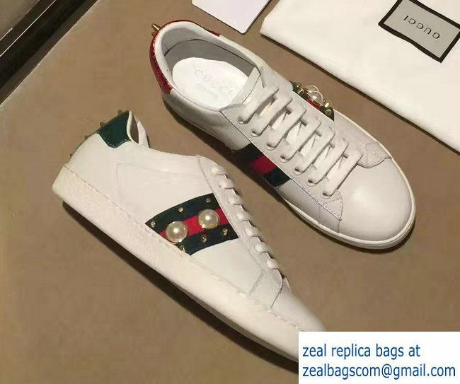 71274f8a3d5 Gucci Ace Leather Low-Top Lovers Sneakers Web 431887 Studded Pearl White  2017