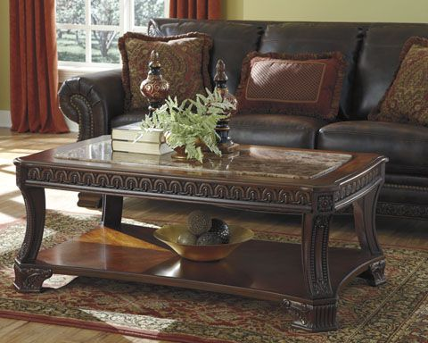Ledelle Traditional Brown Wood Marble Coffee Table Set
