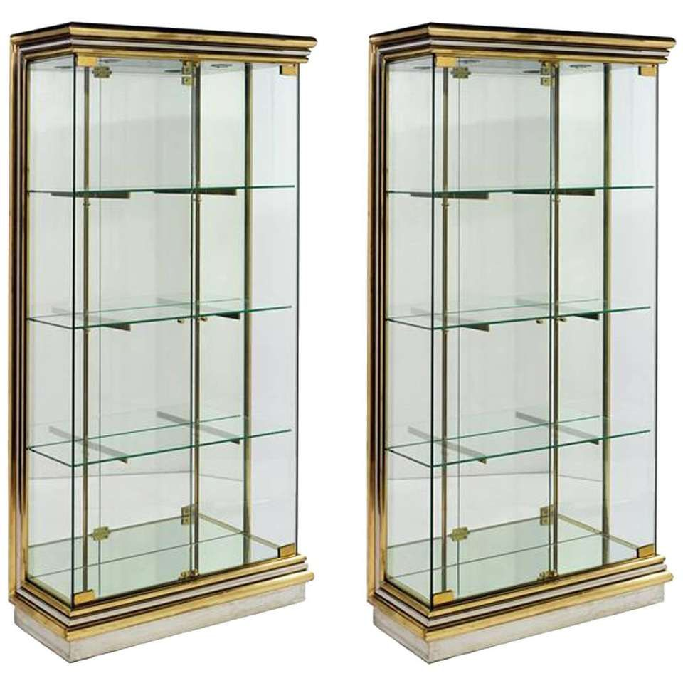 Glasvitrine Chrom For Sale On 1stdibs - Vintage Italian Vitrine Of Smoked Glass, Chrome And Brass By The Italian 1970s-1990s \