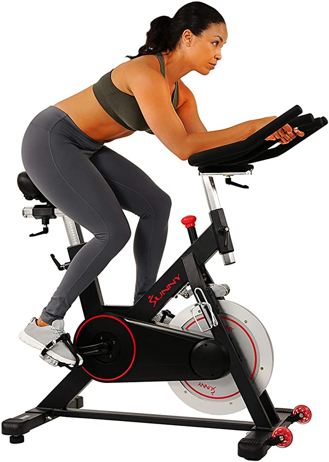 Amazon Com Sunny Health Fitness Magnetic Belt Drive Indoor Cycling Bike With 44 Lb Flywheel And Large Dev Biking Workout Indoor Cycling Bike Indoor Cycling