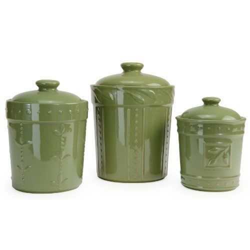 Ordinaire Green Canister Set 3 PC Kitchen Counter Storage Coffee Sugar Tea Lids  Containers
