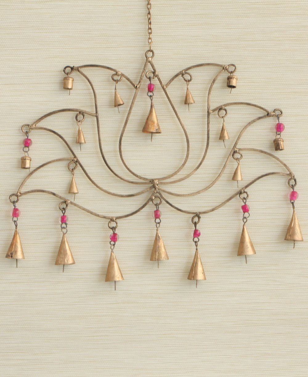 Fair trade pink beaded lotus chime and wall art lotus traditional