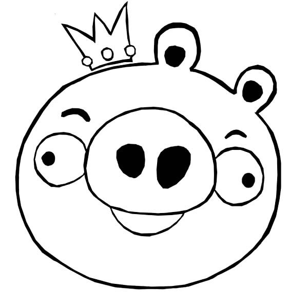 Angry Birds King Pig In Angry Bird Coloring Page