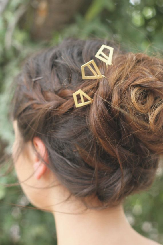 Diamond Shape Hair Jewelry Minimal Pin Gold Stick Pins