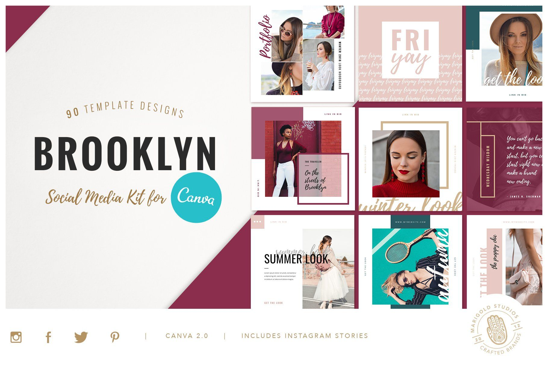 Canva Ppt Brooklyn Social Media Social Media Instagram Square Blog Post Template