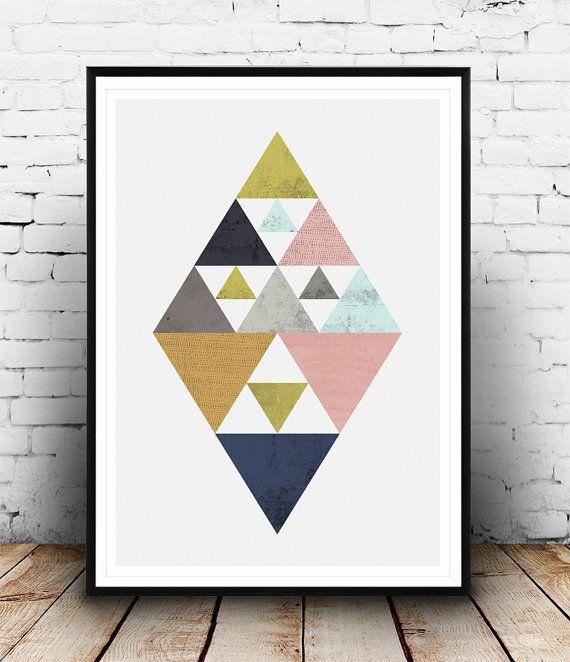 imprimer des triangles affiche g om trique design par wallzilla deco pinterest design. Black Bedroom Furniture Sets. Home Design Ideas