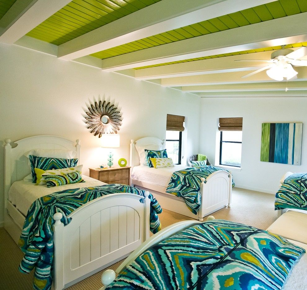 Good Looking Trina Turk Bedding In Bedroom Beach Style With Low Ceiling  Next To Teenage Girl