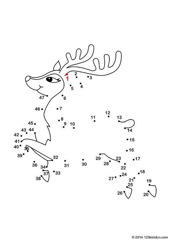free christmas connect the dots printable for kids reindeer