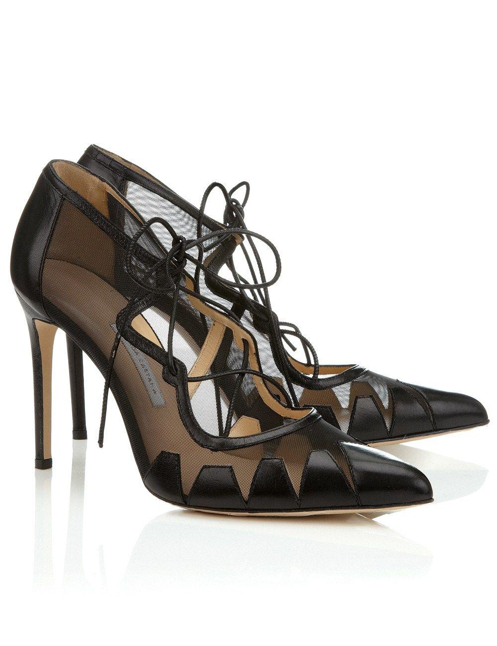 69de97121a Bionda Castana Black Mesh Lace Up Dekota Pumps | shoes | Black high ...