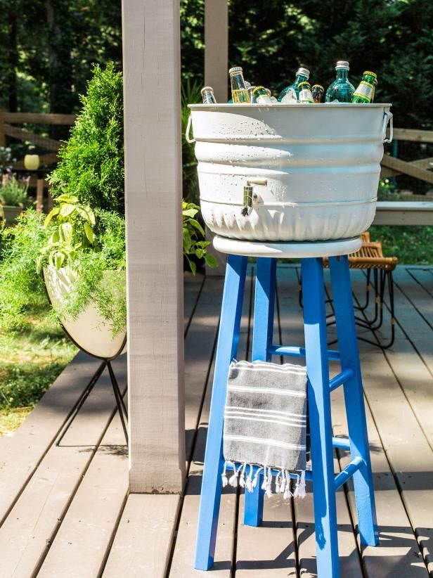 Turn A Wooden Stool Into A Party Beverage Station Wooden