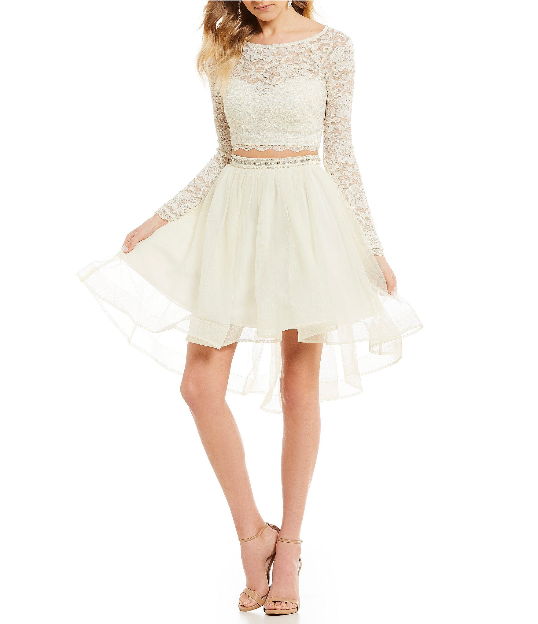 Sequin Hearts Long Sleeve Glitter Lace Top Two,Piece Dress